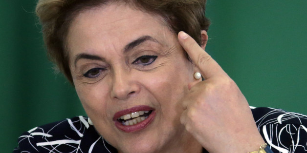 "Brazil's President Dilma Rousseff announces an addition to the government subsidized housing program coined ""My home, My life, at Planalto presidential palace in Brasilia, Brazil, Friday, May 6, 2016. Brazil's Senate impeachment commission has started deliberations over whether to recommend the suspension of Rousseff to the full house. A Friday vote by a simple majority will send the case to all senators for a final decision Wednesday. (AP Photo/Eraldo Peres)"