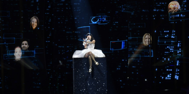 Australia's Dami Im performs the song 'Sound Of Silence' during the second Eurovision Song Contest semifinal in Stockholm, Sweden, Thursday, May 12, 2016. (AP Photo/Martin Meissner)