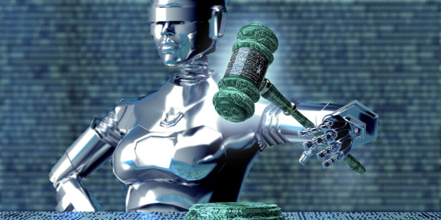 legal computer judge concept, robot with gavel,3D illustration.