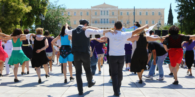 ATHENS, GREECE - 2015/06/13: People dancing in Syntagma square.The Best Buddies of Greece organized a 'Friendship Walk'  in Syntagma square in support of people with intellectual and developmental disabilities (IDD). (Photo by George Panagakis/Pacific Press/LightRocket via Getty Images)