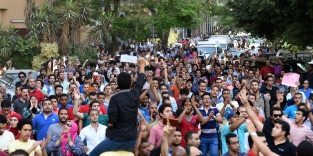 Manifestation au Caire le 25 avril 2016 dénonçant la rétrocession de deux îles inhabitées de la Mer rouge à l'Arabie saoudite