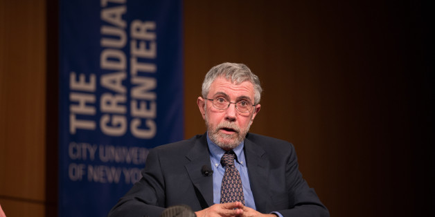CUNY, NEW YORK CITY, NY, UNITED STATES - 2016/02/18: Paul Krugman, Nobel laureate in Economics, Distinguished Professor at the Graduate Center, CUNY, and New York Times columnist discussion with Mayor de Blasio participates (not seen)  on social and economic inequality with  in Inequality in New York City and Beyond: Mayor Bill de Blasio in Conversation with Paul Krugman.. (Photo by Louise Wateridge/Pacific Press/LightRocket via Getty Images)