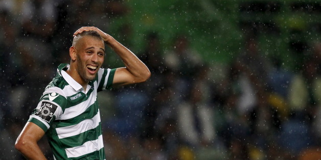 Sporting's Islam Slimani reacts during their Portuguese Premier League soccer match against Guimaraes held at Alvalaxia stadium in Lisbon, Portugal, October 4, 2015. REUTERS/Hugo Correia