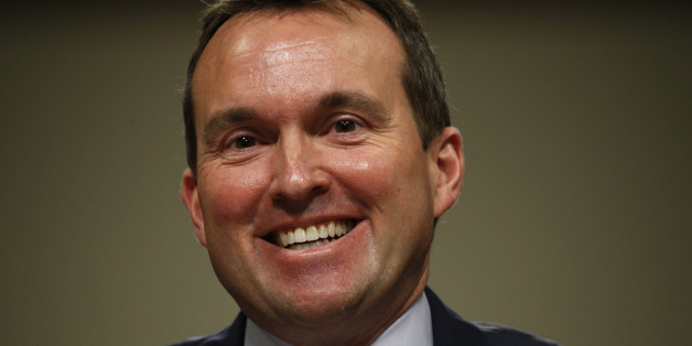 Eric Fanning smiles as he testifies before a Senate Armed Services Committee confirmation hearing on his nomination to be be secretary of the Army on Capitol Hill in Washington, January 21, 2016. If confirmed, Fanning will be the first openly gay leader of a military service branch in U.S. history.REUTERS/Kevin Lamarque