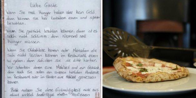 Per Aushang hatten die Betreiber der Pizzeria bedürftigen Menschen eine Gratismahlzeit versprochen
