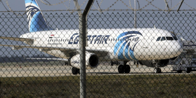 FILE PHOTO - An Egyptair Airbus A320 airbus stands on the runway at Larnaca Airport in Larnaca, Cyprus , March 29, 2016.      REUTERS/Yiannis Kourtoglou /File Photo
