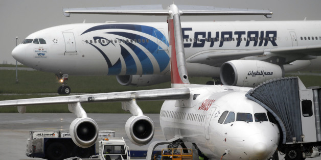 The EgyptAir plane assuring the following flight from Paris to Cairo,  after flight MS804 disappeared from radar, taxies on the tarmac at Charles de Gaulle airport in Paris, France, May 19, 2016.    REUTERS/Christian Hartmann