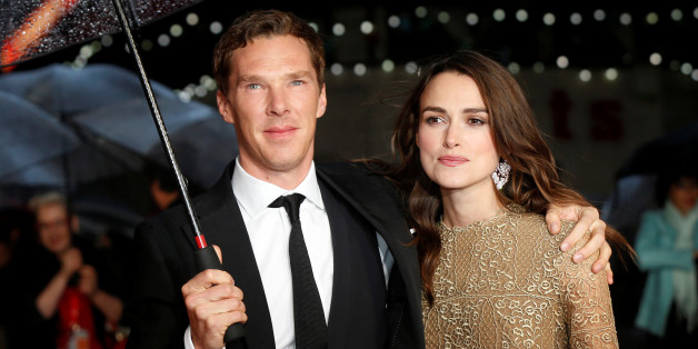 "Actors Benedict Cumberbatch and Keira Knightley pose as they arrive for the European premiere of the film ""The Imitation Game"" at the BFI opening night gala at Leicester Square in London October 8, 2014. REUTERS/Suzanne Plunkett/File Photo"