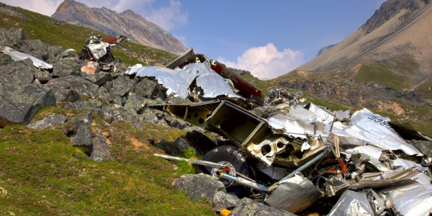 Plane Crash And Wreckage At Merrill Pass During Summer In Alaska, Hdr Image