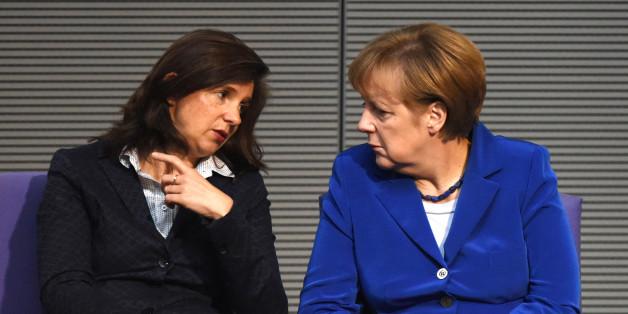 Angela Merkel und die Bundestags-Fraktionsvorsitzende der Grünen, Katrin Göring-Eckardt