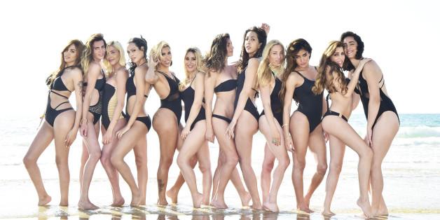 """Die 12 Finalistinnen des Schönheitswettbewerbs """"Miss Trans Israel""""."""