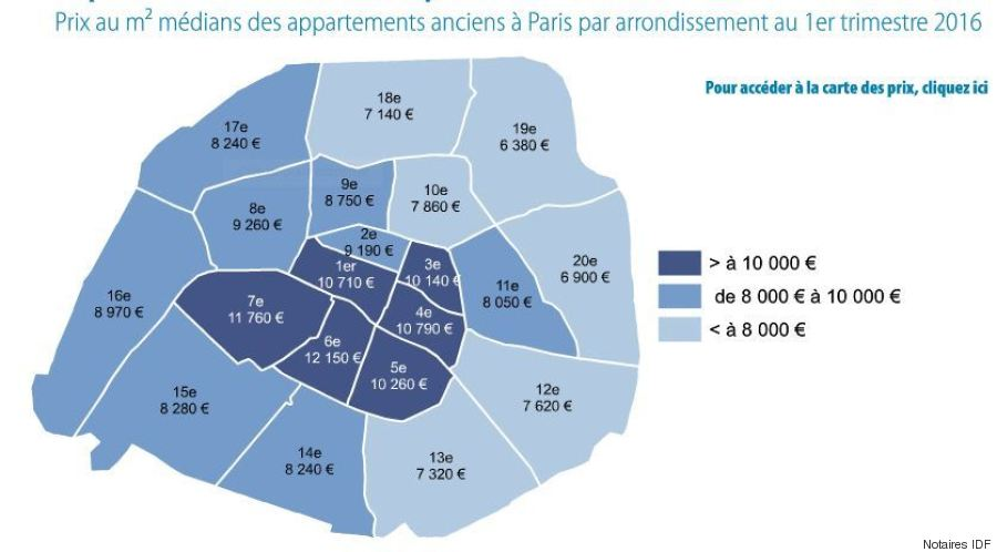 cartes prix de l 39 immobilier paris les arrondissements qui repartent la hausse et ceux qui. Black Bedroom Furniture Sets. Home Design Ideas