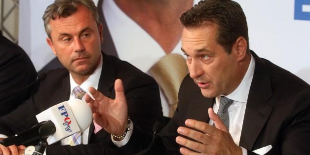 FPÖ-Chef Strache (r.) und Bundespräsidentenkandidat Nofer