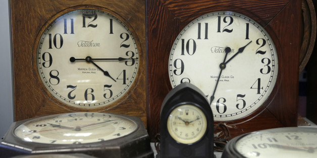 A collection of antique clocks are displayed in the lobby at the Electric Time Company in Medfield, Mass., Thursday, March 10, 2016. Most Americans will lose an hour of sleep this weekend, but gain an hour of evening light for months ahead, as Daylight Saving Time returns this weekend. The time change officially starts Sunday at 2 a.m. local time. (AP Photo/Charles Krupa)