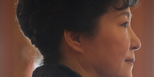 South Korea's President Park Geun-hye waits for the arrival of Prime Minister of the Czech Republic Bohuslav Sobotka at the presidential Blue House Thursday, Feb. 26, 2015. (AP Photo/Ed Jones, Pool)