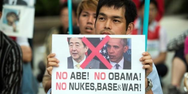 Manifestation contre la venue de Shinzo Abe et Barack Obam à Hiroshima, le 26 mai 2016 à Hiroshima