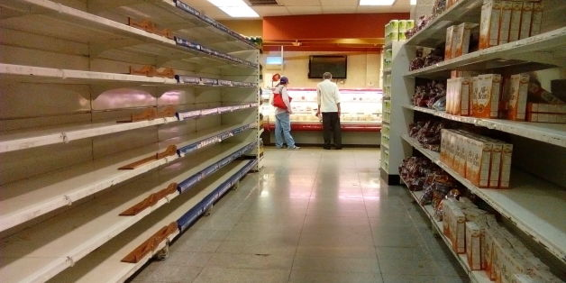 An empty supermarket is pictured in Caracas on May 28, 2016.  The shortage of basic foodstuffs in Venezuela exceeds 80 percent, a survey revealed. / AFP / JUAN BARRETO        (Photo credit should read JUAN BARRETO/AFP/Getty Images)