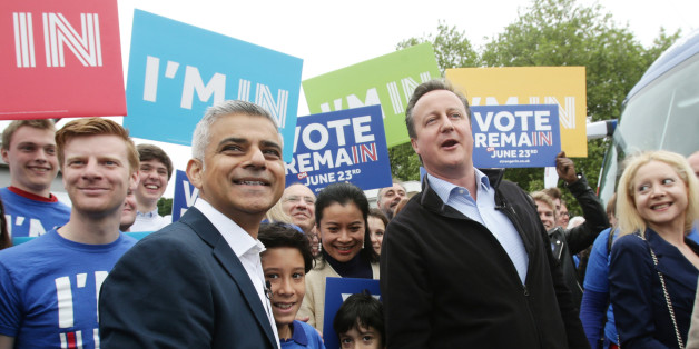 Britain's Prime Minister David Cameron (R) makes a joint appearance with the Mayor of London Sadiq Khan, (L) as they launch the 'Britain Stronger In Europe' guarantee card in west London on May 30, 2016, ahead of the EU referendum in Britain on June 23, 2016.  / AFP / POOL / Yui Mok        (Photo credit should read YUI MOK/AFP/Getty Images)