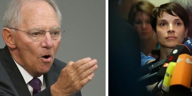 """Bundesfinanzminister Wolfgang Schäuble (l.) hat die AfD unter ihrer Chefin Frauke Petry als """"rechtsdemagogisch"""" bezeichnet"""