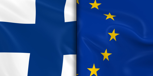 Flags of Finland and the European Union Split Down the Middle - 3D Render of the Finnish Flag and EU Flag with Silky Texture