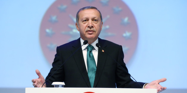 """Turkey's President Recep Tayyip Erdogan addresses the members of an educational foundation in Istanbul, Monday, May 30, 2016. Erdogan has spoken out against birth control and family planning, saying they go against Muslim traditions. Speaking at an educational foundation in Istanbul on Monday, Erdogan declared: """"I say this openly: We will increase our descendants, we will increase out population. Family planning, birth control, no Muslim family can practice such an understanding."""" (Kayhan Ozer, Presidential Press Service/Pool via AP)"""