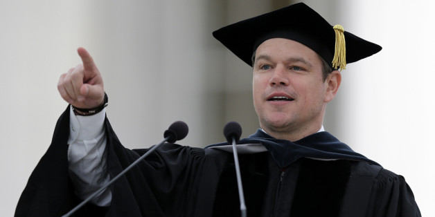 """Actor Matt Damon gestures during his address at the Massachusetts Institute of Technology's commencement in Cambridge, Mass., Friday, June 3, 2016. Damon won an Academy Award for co-writing the 1997 film """"Good Will Hunting"""", where he portrayed a mathematically gifted MIT janitor. (AP Photo/Charles Krupa)"""