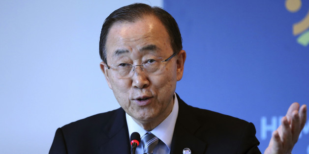 """United Nations Secretary General Ban Ki-moon speaks during a side event entitled: """"Mayor's Focus Session: Cities' Response to Migration"""" at the the World Humanitarian Summit in Istanbul, Tuesday, May 24, 2016. World leaders and representatives of humanitarian organisations from across the globe gathered in Istanbul on May 23-24, 2016 for the first World Humanitarian Summit, focused on how to reform a system many judge broken. (Isa Terli/Pool Photo via AP)"""