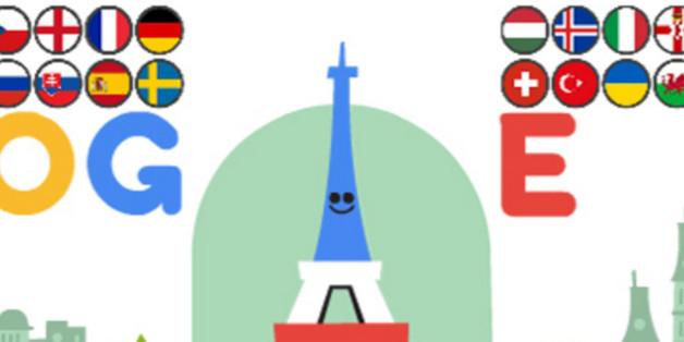 Mit diesem Doodle feiert die Suchmaschine Google den Auftakt zur EM 2016