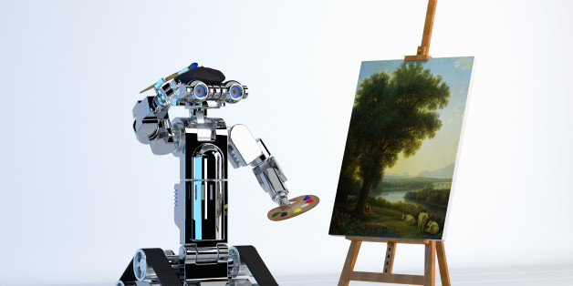 Robot artist painting fine art at easel