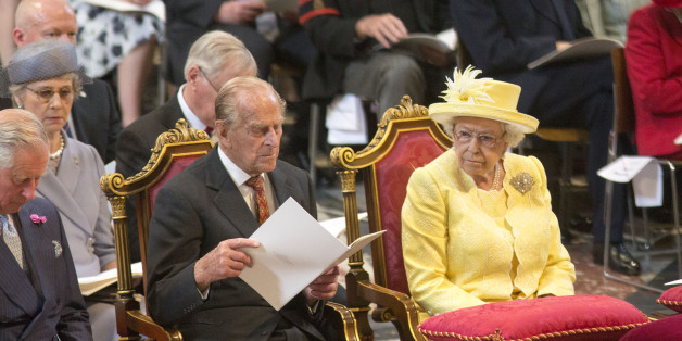 LONDON, ENGLAND - JUNE 10: Queen Elizabeth II and Prince Philip, Duke of Edinburgh attend the service of thanksgiving for Queen Elizabeth II's 90th birthday at St Paul's cathedral on June 10, 2016 in London, United Kingdom. (Photo by Ian Vogler - WPA Pool/Getty Images)