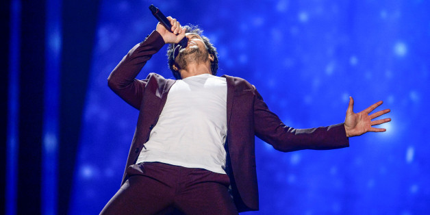 """Amir representing France performs with the song """"J'ai cherche"""" during the Eurovision Song Contest final at the Ericsson Globe Arena in Stockholm, Sweden, May 14, 2016. TT News Agency/Maja Suslin/via REUTERS ?ATTENTION EDITORS - THIS IMAGE WAS PROVIDED BY A THIRD PARTY. FOR EDITORIAL USE ONLY. SWEDEN OUT. NO COMMERCIAL OR EDITORIAL SALES IN SWEDEN."""