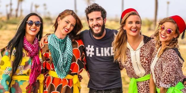 Amir Rouani avec les danseuses du clip Lm3allem
