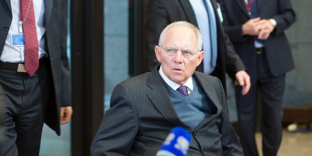 German Finance Minister Wolfgang Schäuble arrives to talk to the media prior to a meeting of Eurogroup ministers at the European Council headquarters in Brussels on February 11, 2016.  / AFP / THIERRY MONASSE        (Photo credit should read THIERRY MONASSE/AFP/Getty Images)