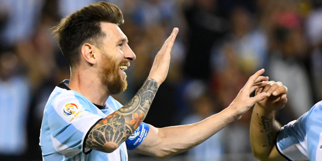 Jun 10, 2016; Chicago, IL, USA; Argentina midfielder Lionel Messi (10) reacts after three goals against Panama  in the second half during the group play stage of the 2016 Copa America Centenario at Soldier Field. Argentina defeats Panama 5-0. Mandatory Credit: Mike DiNovo-USA TODAY Sports