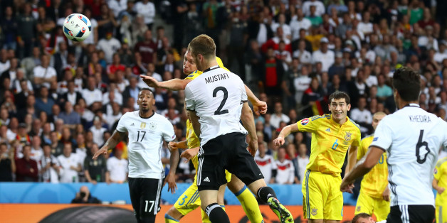 LILLE, FRANCE - JUNE 12:  Shkodran Mustafi of Germany heads the ball to score his team's first goal during the UEFA EURO 2016 Group C match between Germany and Ukraine at Stade Pierre-Mauroy on June 12, 2016 in Lille, France.  (Photo by Alexander Hassenstein/Getty Images)