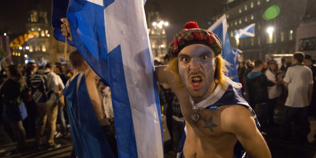 Ein Unterstützer der schottischen Unabhängigkeit währende des Referendums 2014