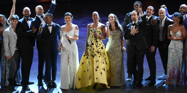 """The cast of """"Hamilton,"""" winners of the 2016 award for best musical, perform at the Tony Awards at the Beacon Theatre on Sunday, June 12, 2016, in New York. (Photo by Evan Agostini/Invision/AP)"""