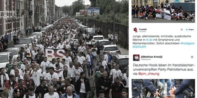 Der überwiegende Teil der deutschen Fans feierte in Lille friedlich - wie beim Fanmarsch zum Stadion.
