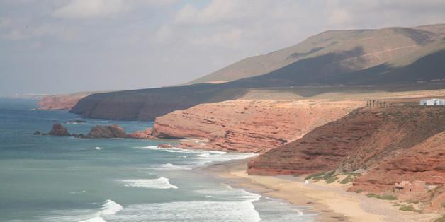 La plage de Guelmim, dans le sud du Maroc