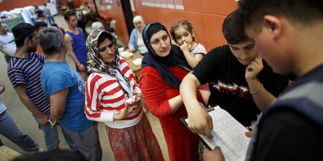 Flüchtlinge in einer Erstunterkunft