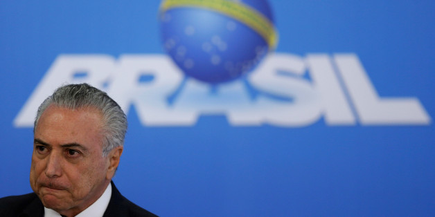 Brazil's interim President Michel Temer reacts during a statement to the media at the Planalto Palace in Brasilia, Brazil, June 6, 2016. REUTERS/Ueslei Marcelino