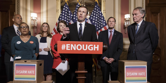 Sen. Chris Murphy, D-Conn., center, and other Democratic senators call for gun control legislation in the wake of the mass shooting in an Orlando LGBT nightclub this week, at the Capitol in Washington, Thursday, June 16, 2016. He is joined by, from left, Sen. Cory Booker, D-N.J., Rev. Sharon Risher, a clinical trauma chaplain in Dallas who lost her mother Ethel Lance in the racially-motivated shooting at the historic Emanuel AME Church in Charleston, N.C., in 2015, Tina Meins, whose father Damia