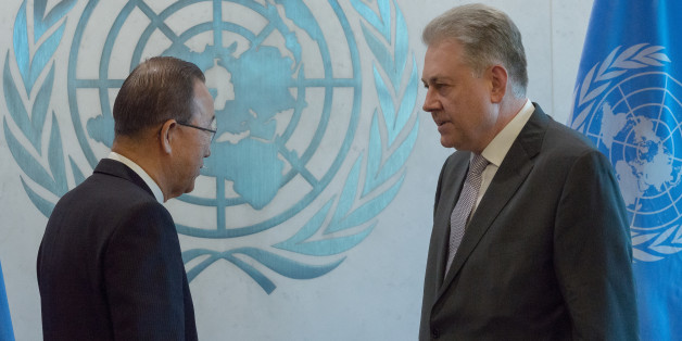UNITED NATIONS HEADQUARTERS, NEW YORK, NY, UNITED STATES - 2016/01/04: Volodymyr Yelchenko (right) presents his credentials to Secretary-General Ban Ki-moon. The newly-installed Ukrainian Permanent Representative to the United Nations, Volodymyr Yelchenko presented his diplomatic credentials to Secretary-General Ban Ki-moon at a ceremony at United Nations Headquarters in New York City. (Photo by Albin Lohr-Jones/Pacific Press/LightRocket via Getty Images)