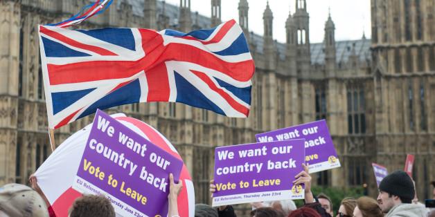 Demonstranten werben für den Brexit