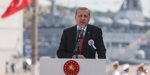 ISTANBUL, TURKEY - JUNE 18: Turkish President Recep Tayyip Erdogan delivers a speech during a ceremony, held for launching of Burgazada Corvette and first weld of Kinaliada Corvette Ceremony at Pendik Naval Shipyard in Istanbul, Turkey on June 18, 2016. (Photo by Salih Zeki Fazlioglu/Anadolu Agency/Getty Images)