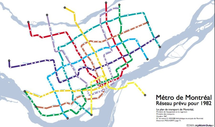 plan extension métro en 1967