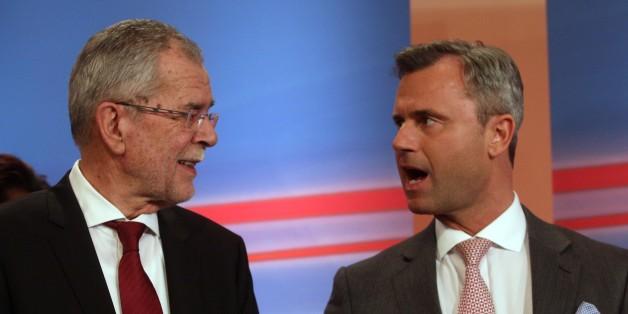 Die Präsidentschaftskandidaten Alexander van der Bellen und Norbert Hofer während des Wahlkampfs