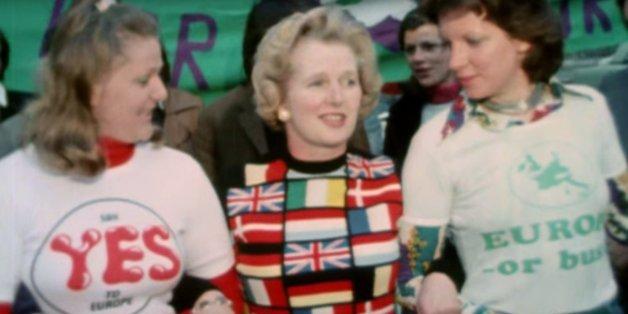 Margaret Thatcher avec son pull pro Europe