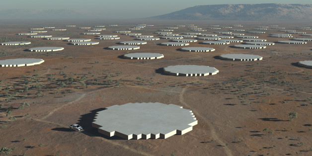"The Square Kilometre Array (SKA) radio telescope project is seen in his artists impression image made available by the Manchester based SKA Organisation, May 25, 2012.  The location of the huge radio telescope, strong enough to detect extraterrestrial life in the far reaches of the universe, could be settled on Friday when the group in charge of the project meets in the Netherlands. When completed in 2024, the ""Square Kilometre Array"" (SKA) will be made up of 3,000 dishes, each 15 metres wide, t"