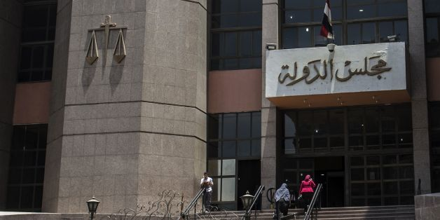 A picture taken on June 21, 2016 shows the entrance of the State Council's building, Egypt's highest administrative court, in Cairo.The Egyptian State Council quashed a government decision to hand over two Red Sea islands to Saudi Arabia, judicial sources said, overruling a deal that had sparked public outrage. / AFP / KHALED DESOUKI        (Photo credit should read KHALED DESOUKI/AFP/Getty Images)